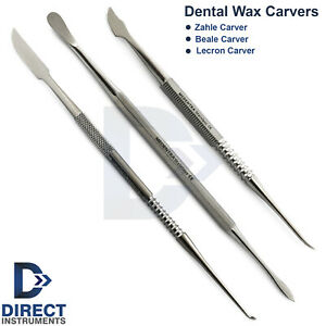 Set Of 3 Dental Wax Carving Tools Laboratory Waxing Carver Zahle Lecron Beale Ce