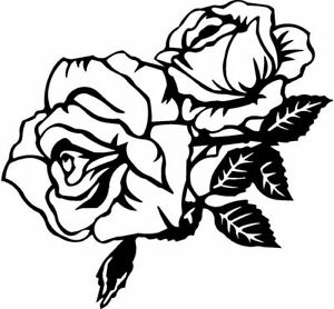 Die Cut Vinyl Decal Rose Blooming Roses Flower Love 20 Colors Car Truck 520
