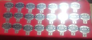 23 Vintage Go To Church Sunday License Plate Toppers Rat Hot Rod Original