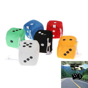 1 Pair Fuzzy Dice Rear View Mirror Hangers Car Pendant Interior Decoration Usma