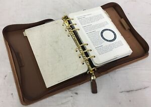 Franklin Quest covey Compact Brown Tan Leather Zipper Planner Organizer 6 Ring