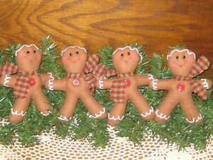 4 Gingerbread Bowl Fillers Wreath Accents Primitive Christmas Country Decor