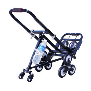 Techtongda Foldable Carbon Steel Climbing Stairs Truck Black Hand Truck