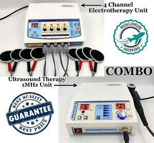 Combo Ultrasound Therapy 1 Mhz Machine Electrotherapy 4 Channel Pain Relief Unit