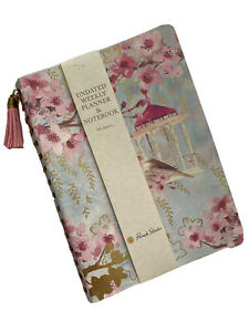 New Punch Studio Undated Weekly Planner Notebook Pink Flowers Birds Blank
