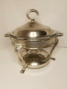 Antique Silver Plated Round Serving Dish With Glass Dish