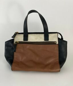 FOSSIL COLORBLOCK PEBBLED LEATHER BROWN WHITE BLACK BAG  $10.00