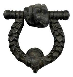 Antique 19thc French Chateau Salvaged Cast Iron Bronzed Hand Fist Door Knocker