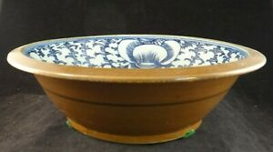 Chinese Porcelain Bowl W Hp Blue Floral Temoku Brown 11 Dia 19th C