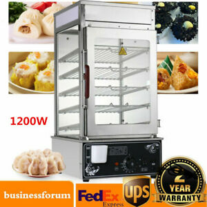 Commercial Food Steamer Machine Electric Bun Steam Cooking Warmer Rack 1200w Usa