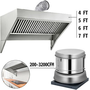 Restaurant Roof Hood Exhaust Fan 200 3200cfm Food Truck trailer Concession Hood