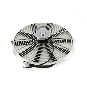 16 Reversable 12v Radiator Electric Thermo Fan Big Motor Chrome
