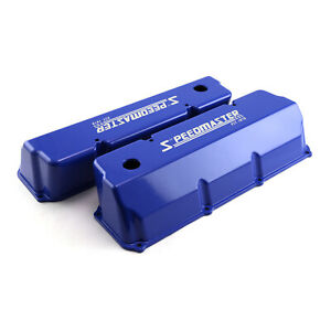 Ford 302 351c Cleveland Speedmaster Blue Aluminum Valve Covers Tall W Hole