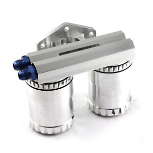 Billet Aluminum Dual Oil Filter Relocation Kit With Reusable Filters
