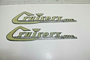 Two Metal Car Or Boat Emblems Cruisers Inc Vintage Rat Rod Custom Car Or Boat