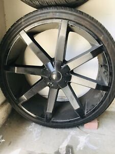 Used Kmc 26 Inch 4rims and Tires Flat Black