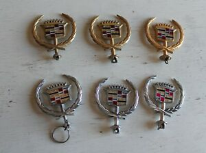 Vintage Gold Tone And Crome Cadillac Hood Ornament Emblem Badge Lot Of 6