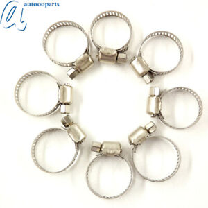 100pcs 1 2 3 4 Adjustable Stainless Steel Drive Hose Clamps Fuel Line Worm