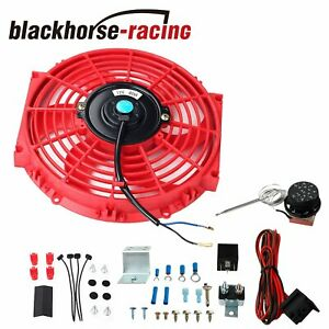 80w 12v Slim Push Pull10 electric Radiator Cooling Fan Thermostat Switch Kit Red