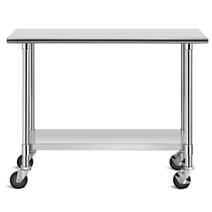 48 X 24 Commercial Utility Cart Nsf Stainless Steel Adjustable Worktable