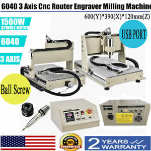 Usb 3 Axis Cnc 6040z Router Engraver Engraving Machine Woodwork Cutting 1500w Us
