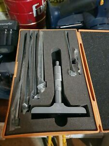 Mitutoyo 129 132 Depth Micrometer Set With Box 4 Base Machinist Toolmaker Tool