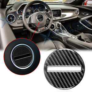 Carbon Fiber Interior Steering Wheel Cover Trim Decal For Chevy Camaro 2017 2020