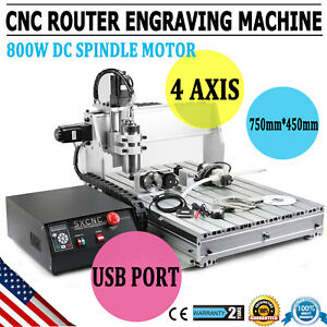 4 Axis Mach3 6040z Cnc Router Engraver Drill Milling Machine Wood Art 1 5kw Vdf