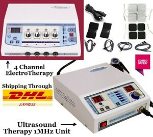 Ultrasound Ultrasonic Therapy 1 Mhz Machine Electrotherapy 4 Channel Combo Unit