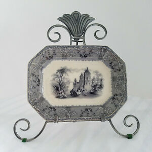 Antique 1850 S T J Co J Mayer French Rhone Scenery Small Ironstone Platter