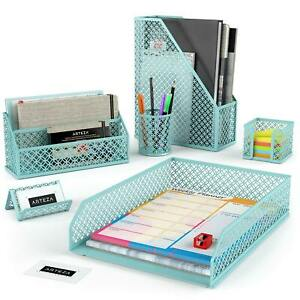 Arteza Desk Organizer Caribbean Blue 6 Piece Set
