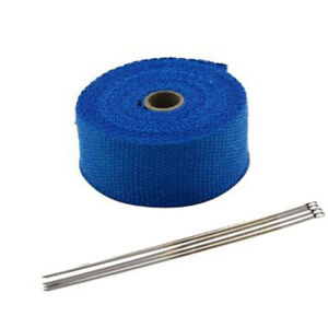 5m Blue Exhaust Thermal Tape Muffler Pipe Header Heat Wrap Resistant Protection