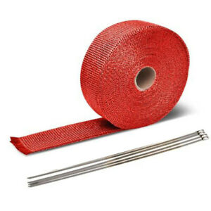 Red Exhaust Pipe Insulation Thermal Heat Wrap 5m Motorcycle Header