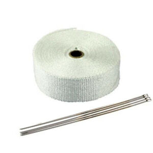 5m White Muffler Exhaust Pipe Insulation Thermal Heat Wrap Motorcycle Header