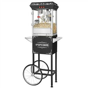 Black Full Foundation Popcorn Popper Machine Maker With Cart And 8 Ounce Kettle