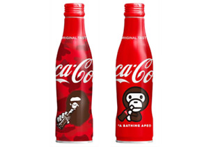 Japanese Coca Cola Aluminium full bottle of A Bathing ape and Milo from Japan