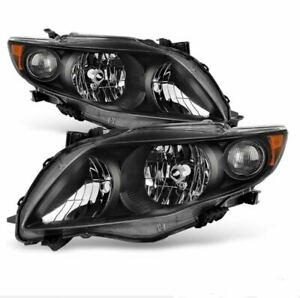 For Toyota Corolla 2009 2010 Headlights Head Lamps Black Housing Color 2pcs