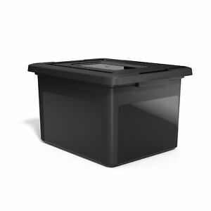 Tru Red Hanging File Box Snap Lid Letter legal Size Black 140140