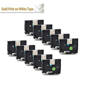 10pk 12mm Compatible With Brother Tz234 Tze234 Gold On White Label Tape P touch