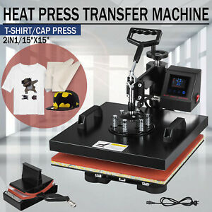 2 In 1 15 x15 Digital Heat Press Machine Led Transfer Sublimation T shirt Hat