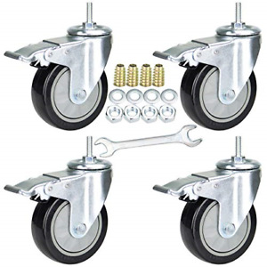 4 Inch Swivel Caster Wheels With Safety Dual Locking Set Of 4 Threaded Stem Bsw