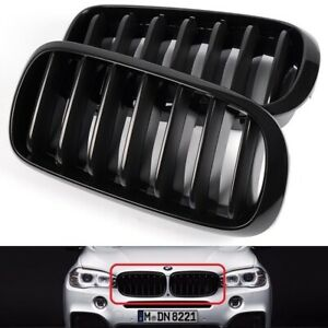 For 2014 2018 Bmw F15 X5 Gloss Black Front Hood Bumper Kidney Grille Grill