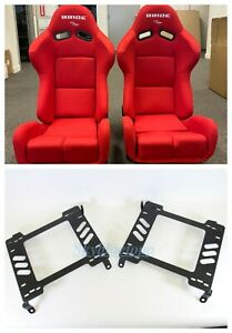 Bride Gias V1 Red Cloth Frp Shell Racing Pair Seats W 240sx Brackets S13 S14