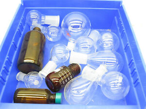Lot Of Assorted Small Size Round Bottom Lab Laboratory Glass Glassware 14pcs
