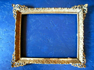Antique Wood Picture Frame With Brass Ornate Corners As Found 9 5x11 5