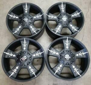 Kmc Wheels Rims 22 Inch 5x150 Black Machine Set Of 4 Toyota Tundra