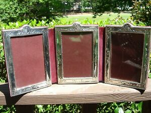 English Asprey Sterling Silver Desk Large Travel 3 Panel Photo Frame