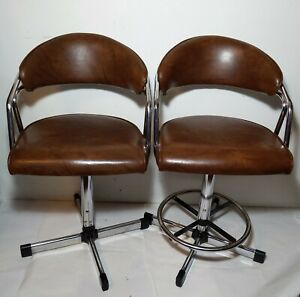 Vintage Pair Of Samsonite Bar Stools Chairs Mid Century Modern Chrome Vinyl