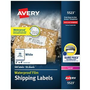 Avery Weatherproof Labels 2 X 4 White 500 Count