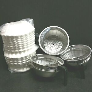 All 3 Bunn Coffee Basket Filter Funnel With Splash Guard Stainless Steel Metal